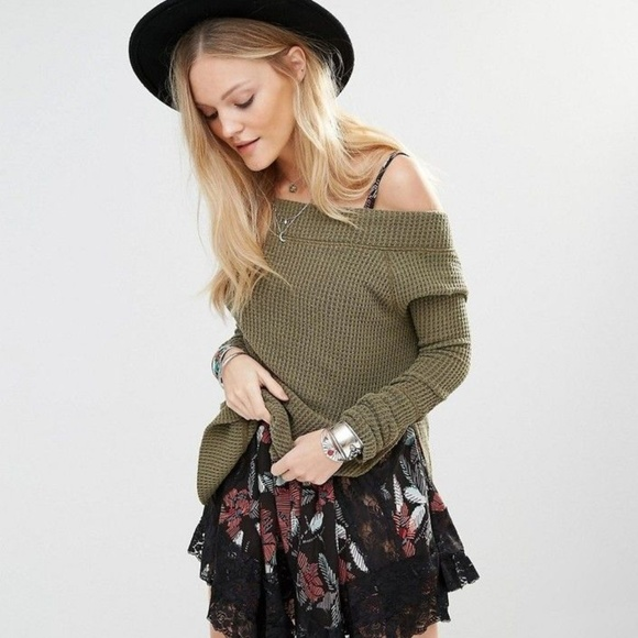 Free People Tops - We the Free Free People Green Kate Thermal Top